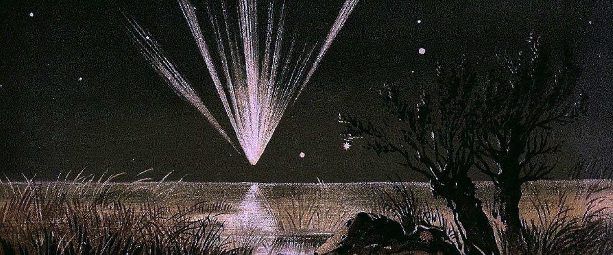 Komet Tebutt yang terlihat pada 1861 ini digambar oleh Edmund Weiss, seorang astronom dari Austria. Orang Jawa menyebut komet sebagai lintang kemukus. (Wikipedia).