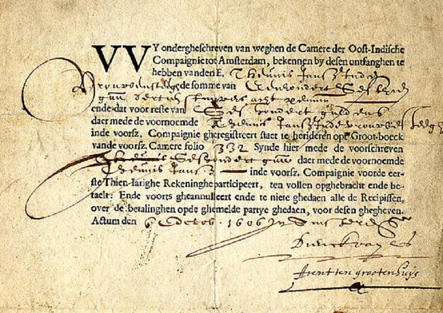 Dokumen Saham Tertua Voc Ditemukan Historia
